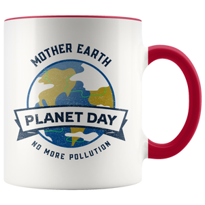 Mother Earth Planet Day Accent Ceramic Coffee Cup Red