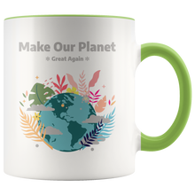 Load image into Gallery viewer, Make Our Planet Great Again Accent Coffee Cup Green