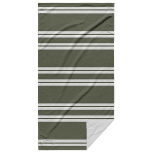 Olive Striped Beach Towel with White Back