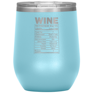 Wine Nutritional Facts Wine Tumbler Light Blue