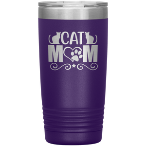 Cat Mom Stainless-Steel Tumbler Purple