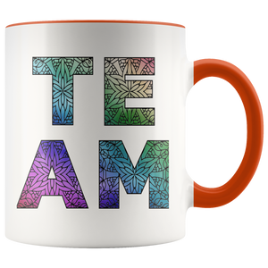 Team Watercolors Diversity Accent Coffee Cup Orange