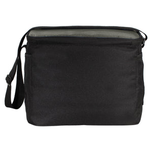 New Born to Camp Small Cooler Soft Black and Gray Cube Polyester with Pockets