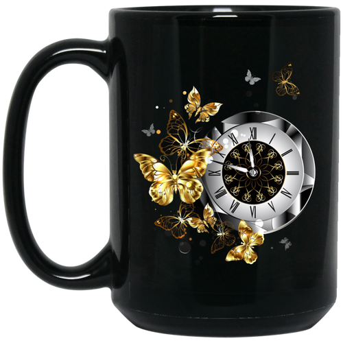 Antique Clock Butterflies Mug