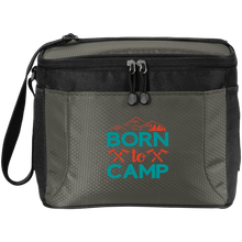 Load image into Gallery viewer, New Born to Camp Small Cooler Soft Black and Gray Cube Polyester with Pockets