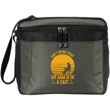 Load image into Gallery viewer, New Fishing-Themed Small Soft Cooler 12-Can Polyester Canvas Mesh Black and Gray