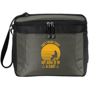 New Fishing-Themed Small Soft Cooler 12-Can Polyester Canvas Mesh Black and Gray