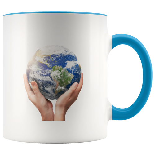 Mother Earth in Hands Accent Coffee Cup Blue