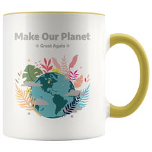 Load image into Gallery viewer, Make Our Planet Great Again Accent Coffee Cup Yellow