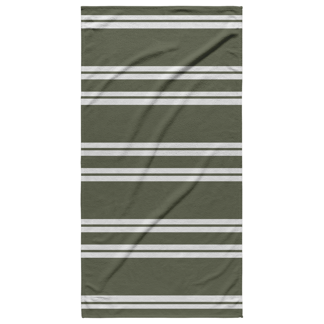 Olive Striped Beach Towel