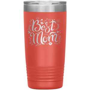Best Mom Coral Engraved Stainless Steel Tumbler