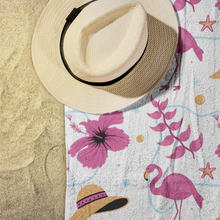 Load image into Gallery viewer, Flamingo Beach Towel on Beach