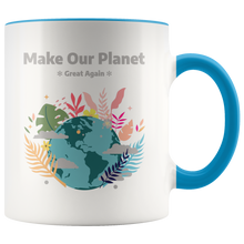 Load image into Gallery viewer, Make Our Planet Great Again Accent Coffee Cup Blue