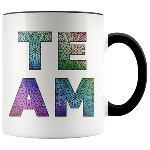 Team Watercolors Diversity Accent Coffee Cup BLack