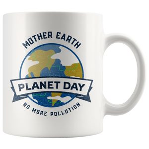 Mother Earth Planet Day Accent Ceramic Coffee Cup White