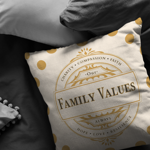 Decorative Accent Family Values Throw Pillows & Cases Beige Polyester Broadcloth Display