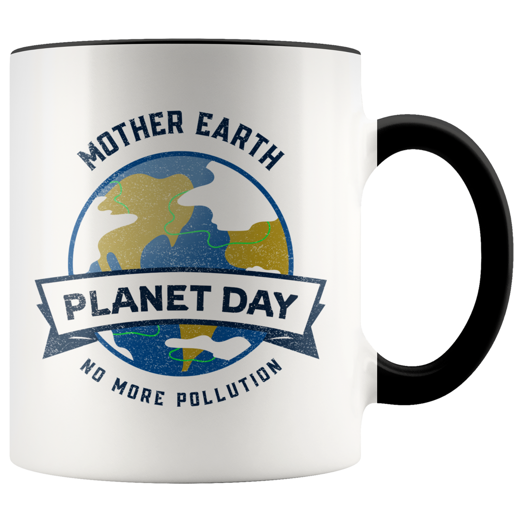 Mother Earth Planet Day Accent Ceramic Coffee Cup Black