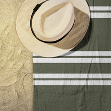 Load image into Gallery viewer, Olive Striped Beach Towel Display