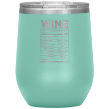Load image into Gallery viewer, Wine Nutritional Facts Wine Tumbler Teal