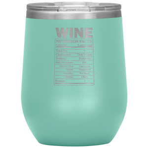 Wine Nutritional Facts Wine Tumbler Teal