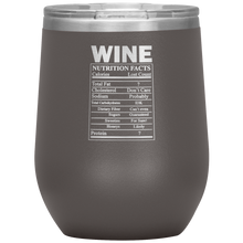 Load image into Gallery viewer, Wine Nutritional Facts Wine Tumbler Pewter