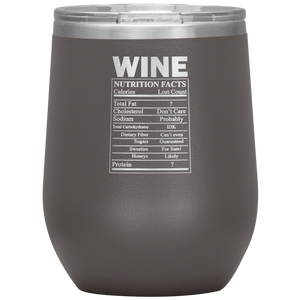 Wine Nutritional Facts Wine Tumbler Pewter