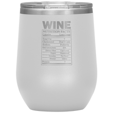 Load image into Gallery viewer, Wine Nutritional Facts Wine Tumbler White