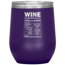 Load image into Gallery viewer, Wine Nutritional Facts Wine Tumbler Purple