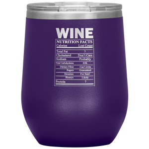Wine Nutritional Facts Wine Tumbler Purple