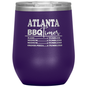 Atlanta BBQ Timer Wine Tumbler Purple
