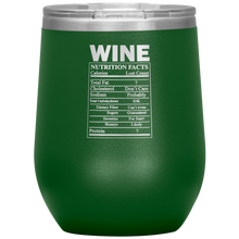 Load image into Gallery viewer, Wine Nutritional Facts Wine Tumbler Green