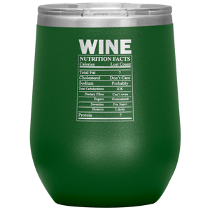 Wine Nutritional Facts Wine Tumbler Green