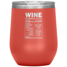 Load image into Gallery viewer, Wine Nutritional Facts Wine Tumbler Coral