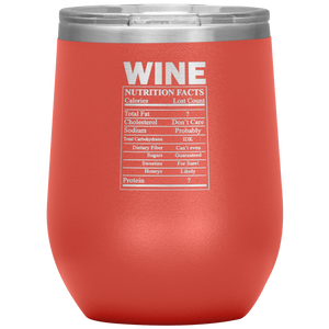 Wine Nutritional Facts Wine Tumbler Coral