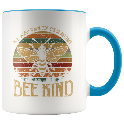 Bee Kind Accent Coffee Cup Blue Handle