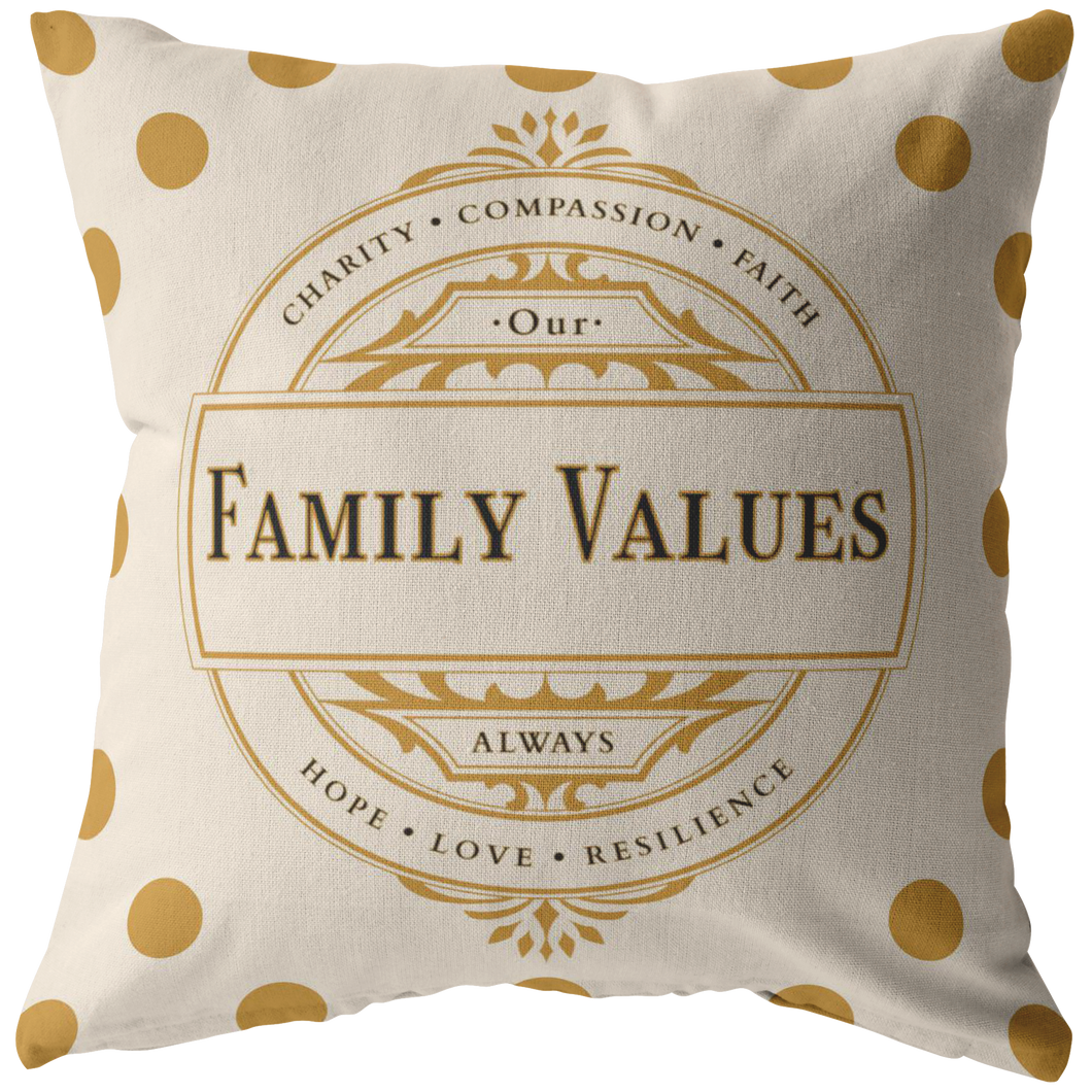 Decorative Accent Family Values Throw Pillow