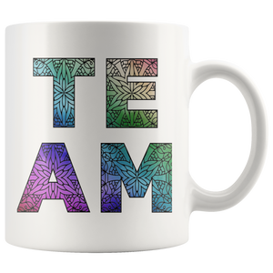 Team Watercolors Diversity Accent Coffee Cup White