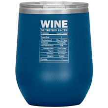 Load image into Gallery viewer, Wine Nutritional Facts Wine Tumbler Light Blue