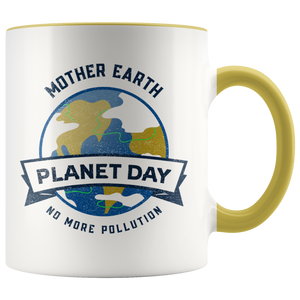 Mother Earth Planet Day Accent Ceramic Coffee Cup Yellow