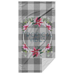 Tropical Vibes Beach Towel with White Background