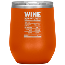 Load image into Gallery viewer, Wine Nutritional Facts Wine Tumbler Orange