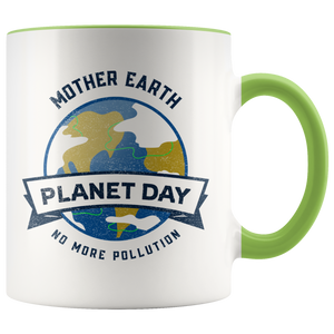 Mother Earth Planet Day Accent Ceramic Coffee Cup Green
