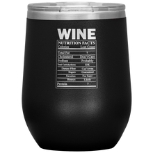 Load image into Gallery viewer, Wine Nutritional Facts Wine Tumbler Black