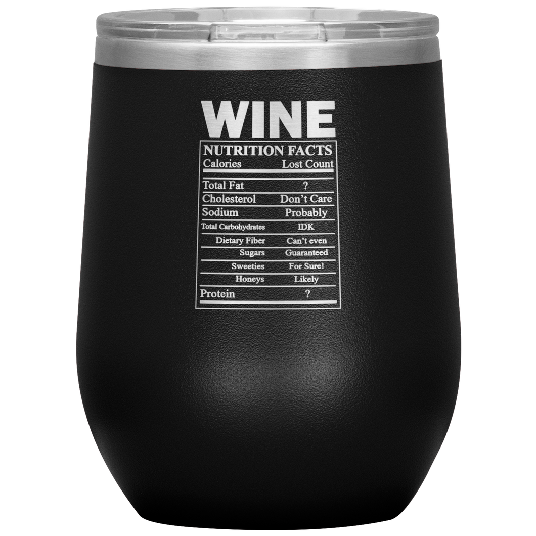 Wine Nutritional Facts Wine Tumbler Black