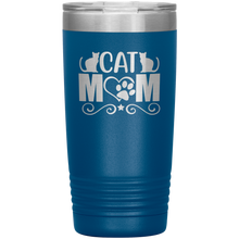 Load image into Gallery viewer, Cat Mom Stainless-Steel Tumbler Blue