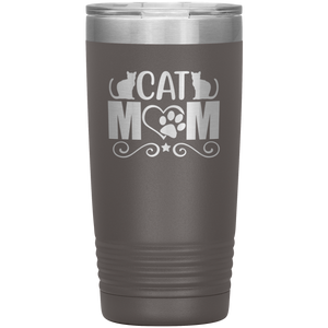 Cat Mom Stainless-Steel Tumbler Pewter