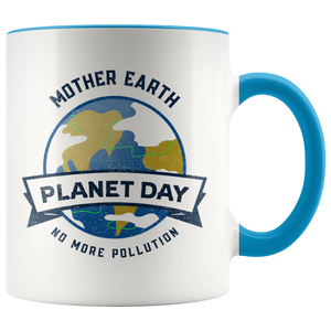 Mother Earth Planet Day Accent Ceramic Coffee Cup Blue