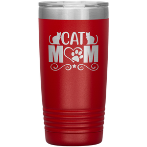 Cat Mom Stainless-Steel Tumbler Red