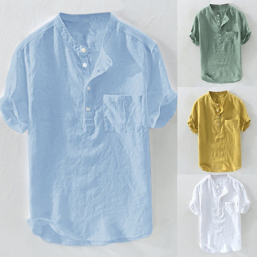 Pure Cotton Hemp Button Short Sleeve