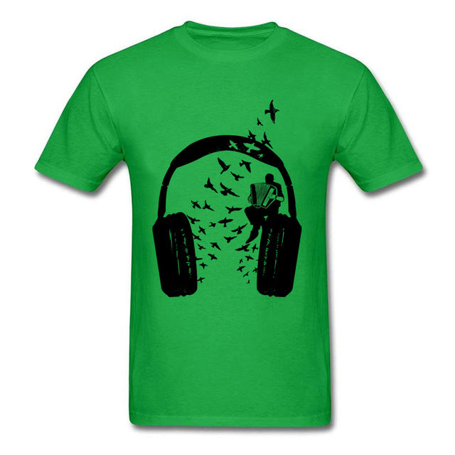 DJ Rock Headphone & Accordion Music T Shirts